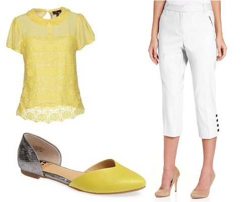 yellow white spring outfit lollie shopping