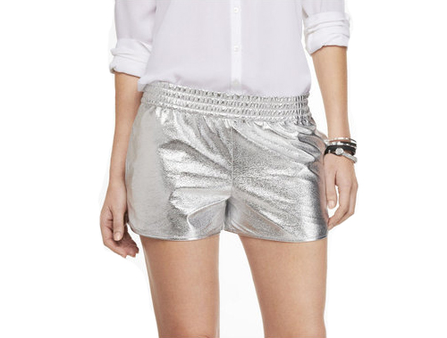 silver track shorts
