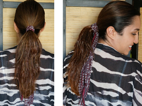 low ponytail crimped