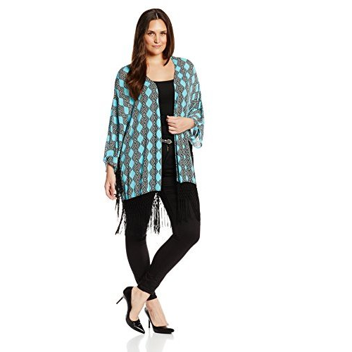 Democracy Women's Plus-Size Plus Printed Kimono with Fringe Detail, $58.50.