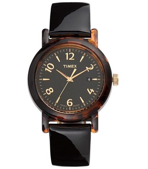 Timex Round Patent Leather Strap Watch, $70