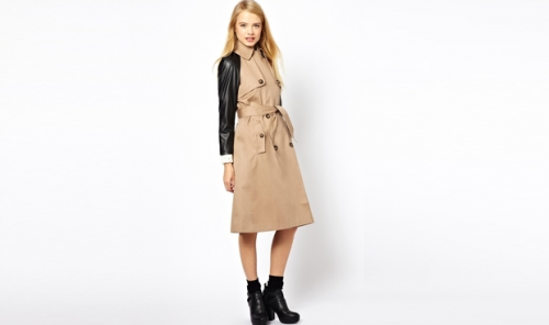 Trench with PU Sleeves, on sale for $68.55 at ASOS.com.