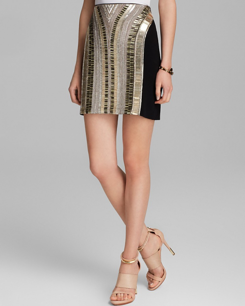 Adrianna Papell Beaded Mini Skirt, on sale for $54 at Bloomindale's