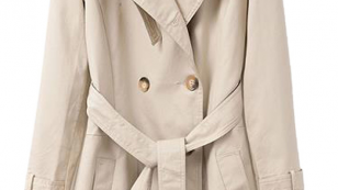 Beige Lapel Double Breasted Longline Trench Coat With Belt_Choies_66