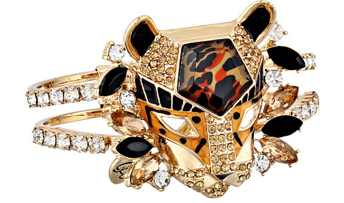 Betsey Johnson Hollywood Glam Leopard Head Hinged Bangle Bracelet, $40 at 6PM.com