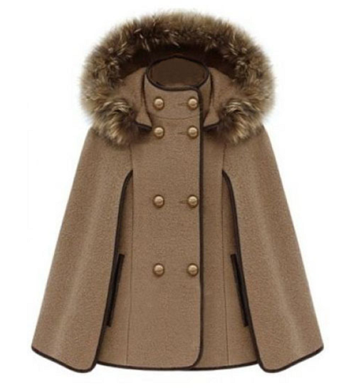 Double Breasted Camel Cape Coat, $40 at Romwe