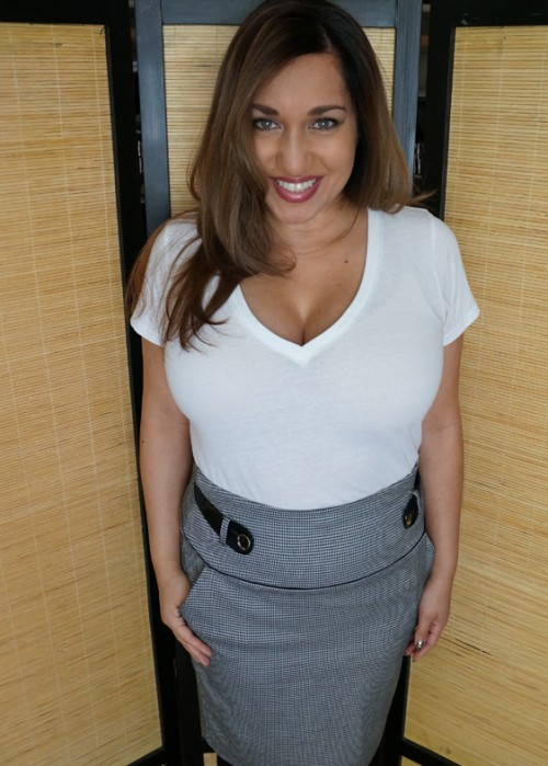 white t-shirt and houndstooth pencil skirt