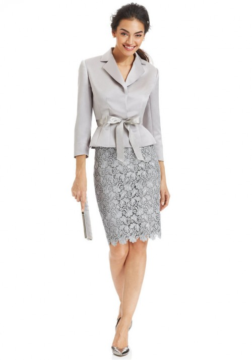 Tahari ASL Belted Jacket & Lace Skirt Suit, $195