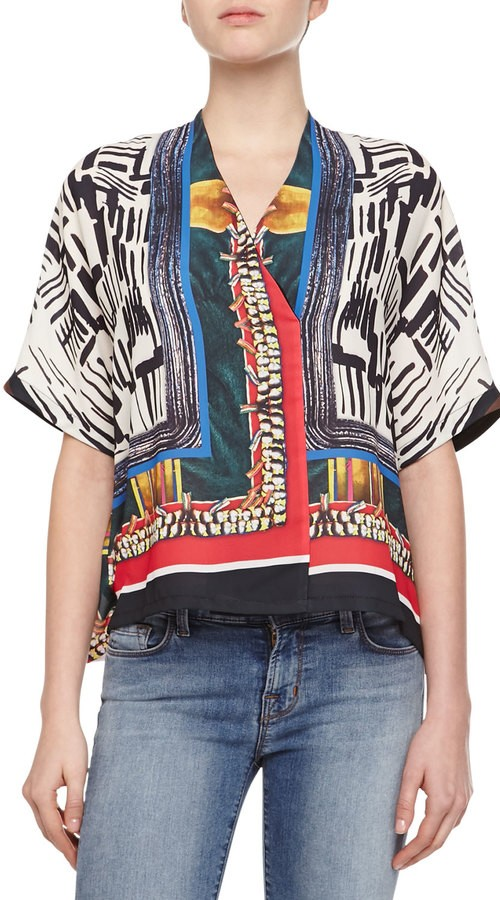 Clover Canyon Imperial Markings Short-Sleeve Blouse