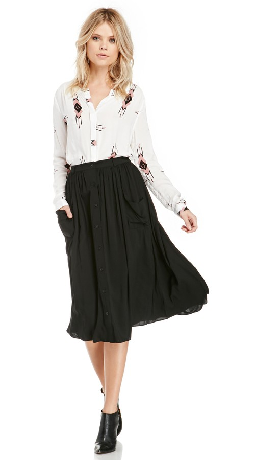 DAILYLOOK Pocketed Button Down Midi Skirt, $45