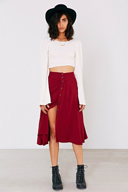 Ecote Button-Down Midi Skirt, $69