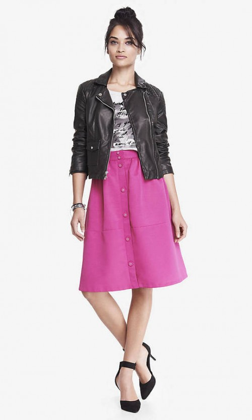 High Waist Button Midi Skirt- Radiant Rose, $70