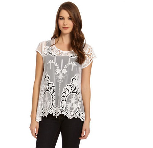 Karen Kane Embroidered Net Top, $65