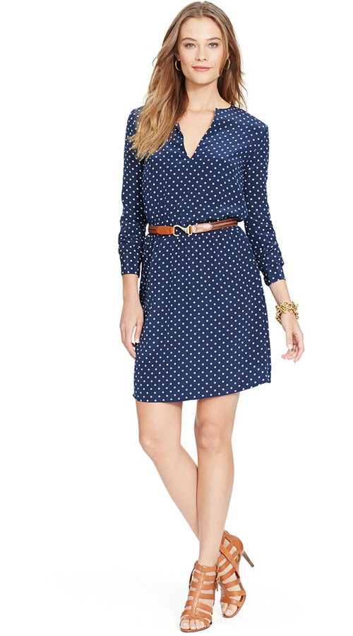 Lauren Ralph Lauren Polka-Dot Split-Neck Dress, $70
