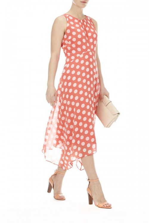 Coral Spot Hanky Hem Maxi Dress, $70