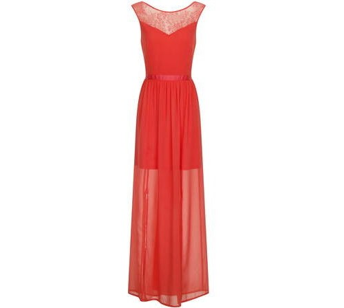 Coral Chiffon Maxi Dress, $69