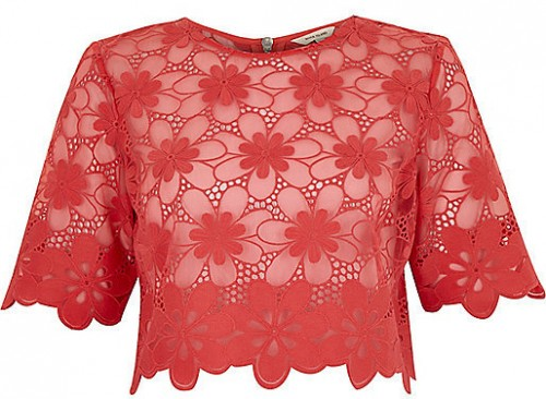 River Island Women's Coral Lace Crop Top, $40