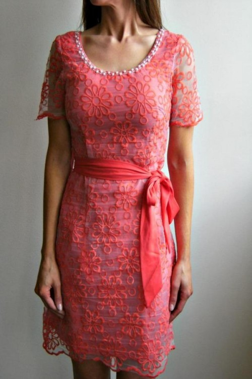 Coral Embroidered Dress, $22