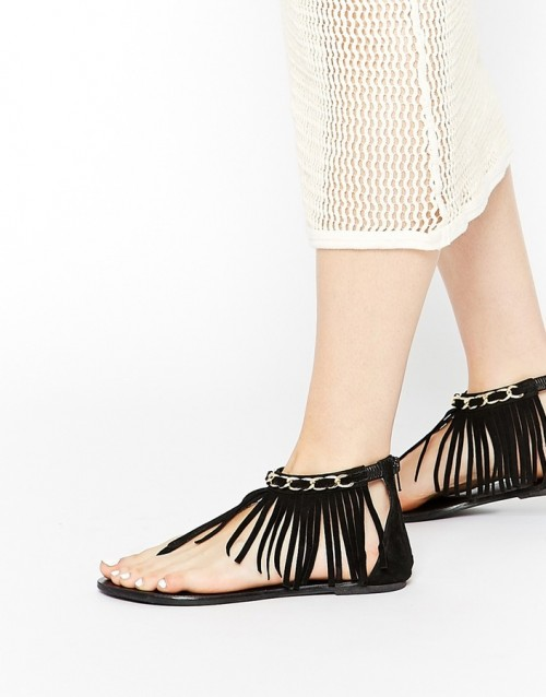 ASOS Collection Forna Fringe Flat Suede Sandals, $45