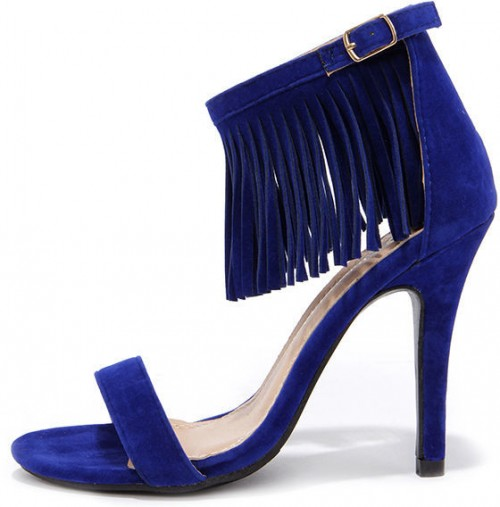 Fringe Forward Blue Fringe Heels, $31