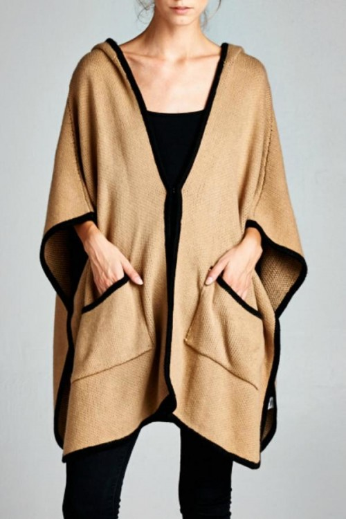 Ellison Knitted Poncho Cardigan at Shoptiques, $46