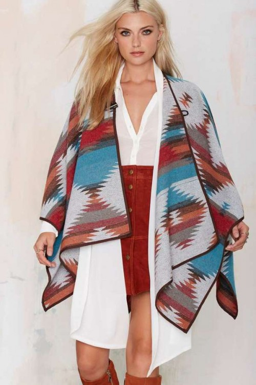 Factory Cape It Coming Toggle Poncho at Nasty Girl, $78