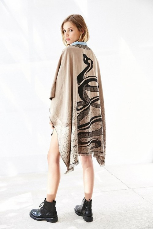 Eve Snake Poncho at Urban Outfitters, $49