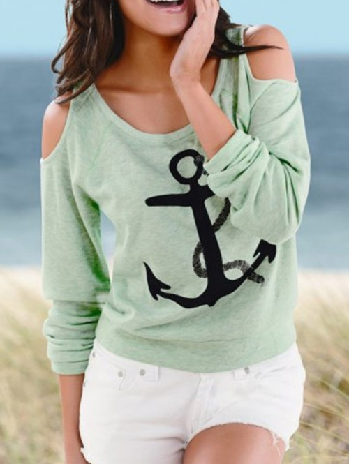 Green with Anchors Print Cold Shoulder Top, $10