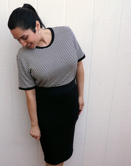 striped tshirt and black pencil skirt