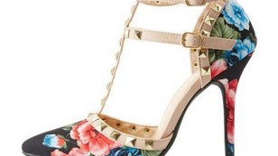 Wild Diva Floral Studded Tstrap Shoes