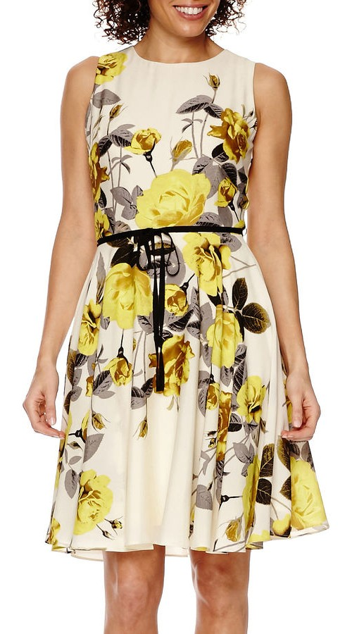 Danny & Nichole Belted Fit & Flare Dress, $72