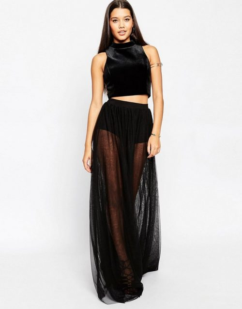 ASOS Black Sheeri Maxi Skirt, $49