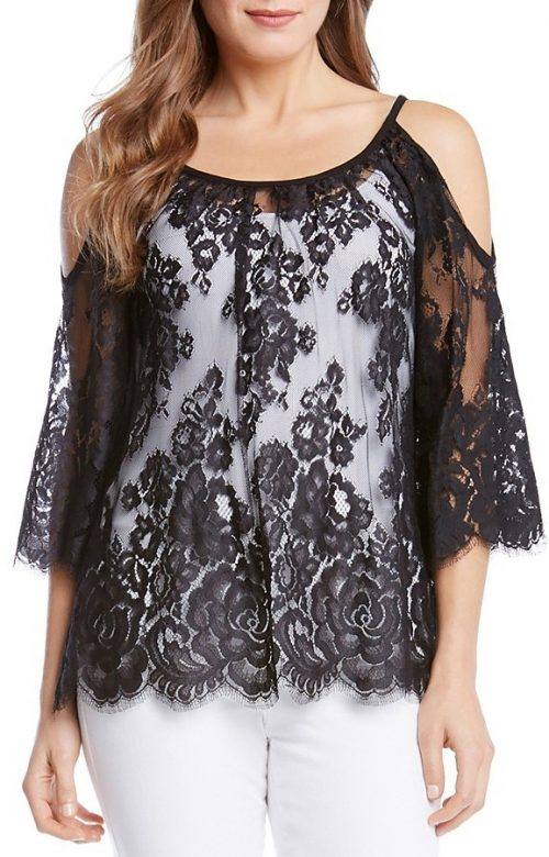 Karen Kane Cold Shoulder Lace Top, $73