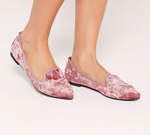 Misguided Pink Velvet Slipper Loafers, $32.